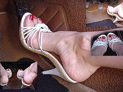 Mary in sexy white heels